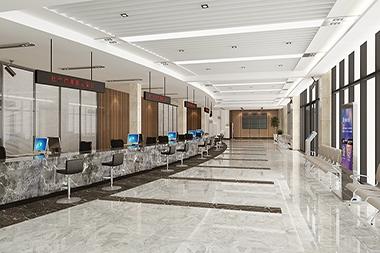 莱山区工程装修--党群服务中心大厅设计